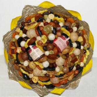 Букет из сухофруктов и 2 баночки меда