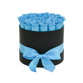 25 синих роз в шляпной коробке