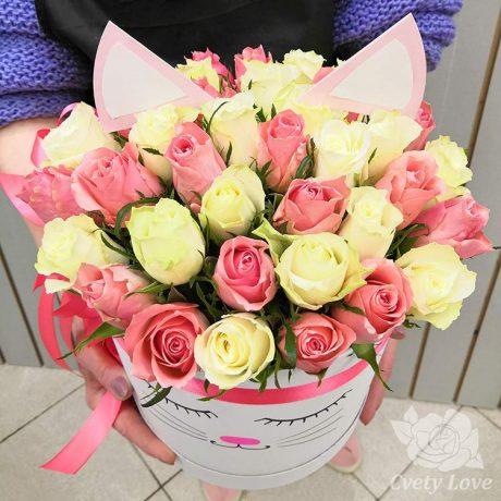 51 кенийская роза в шляпной коробке
