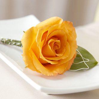 Бутоньерка из оранжевой розы